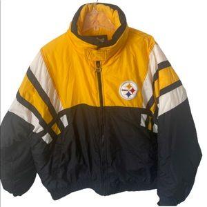 Pittsburgh Steelers zip up puffer coat size XXL
